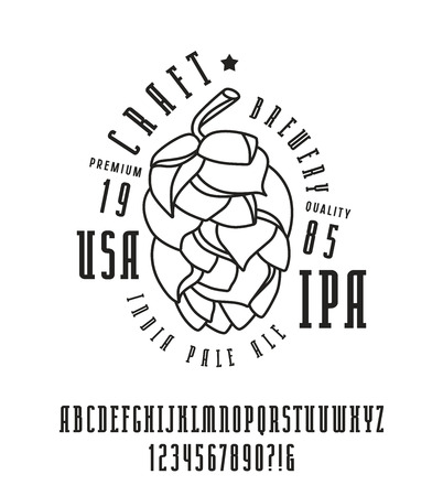 serif: Narrow serif font and craft brewery label. Bold face. Black print on white background Illustration