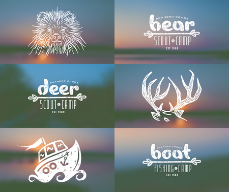 Set of elements in hand-drawn style: bear, deer horn, boat. Graphic design for t-shirt. And blurred backgrounds