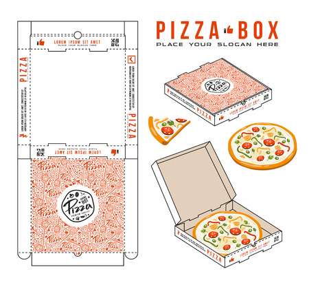 Akcyjny wektorowy projekt pudełka dla pizzy. Nieopakowane pudełko z elementami układu i prezentacji 3D