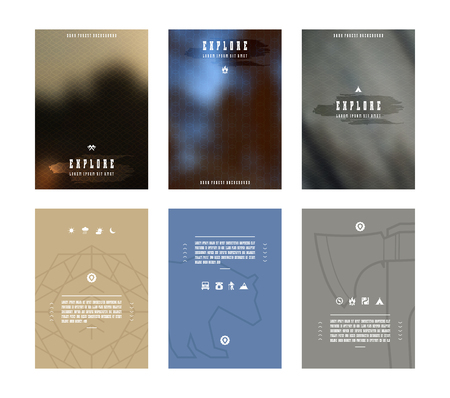 Set of vector poster templates with blurred background. Nature background for flyers, posters and placards.