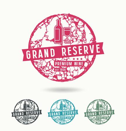 Grand reserve wine label with circular texture cork Illusztráció