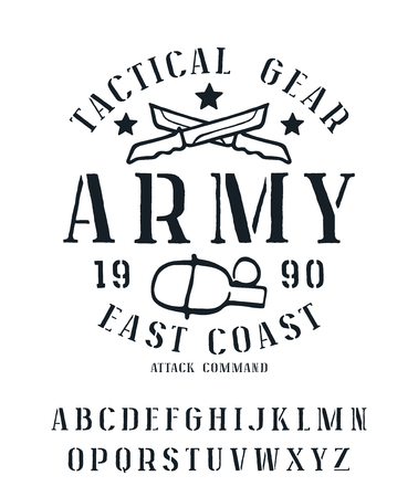 serif: Stencil-plate serif font with rough edges. Military graphic design for t-shirt. Isolated on white background