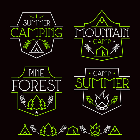 wigwam: Camping badges and icons in thin line style. Graphic design for t-shirt. Neon colors print on a black background Illustration