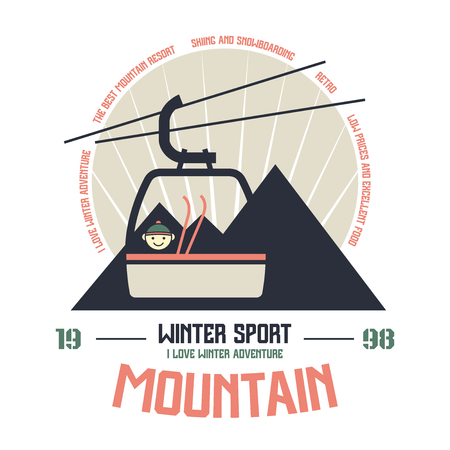 t shirt white: Mountain winter sport emblem print in flat style. Graphic design for t-shirt. Color print on white background Illustration