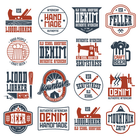 Handcrafted badges in retro style. Woodworker, seamstress, craft beer, camping. Graphic design for t-shirt. Color print on white background.