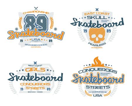 Skateboard emblems  for t-shirt. Color print on white background