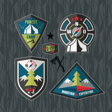 ligneous: Set tourism emblems in flat style Illustration