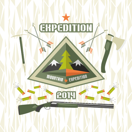 expedition: Emblem expedition to the mountains in flat style and bright colors