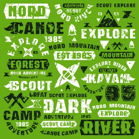 Camping typographic elements. Graphic design for t-shirt. Black and white print on green background