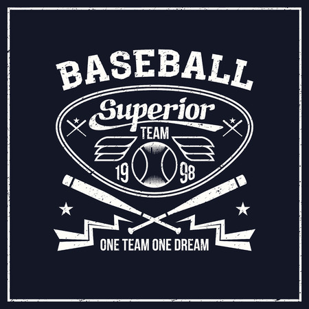 rebellious: College baseball team emblem graphic design for t-shirt. Bright print on a dark background