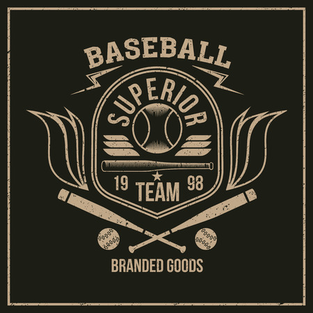 rebellious: College baseball team emblem graphic design for t-shirt. Color print on a dark background