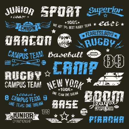 Badges baseball and rugby college team in retro style. Graphic design elements print for t-shirt with shabby texture
