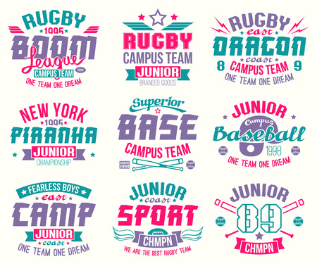 Baseball and rugby college team sport emblems. Graphic design for t-shirt. Color print on a white background