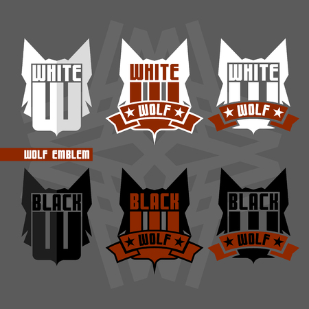 version: Version emblems Black Wolf and White Wolf in flat style