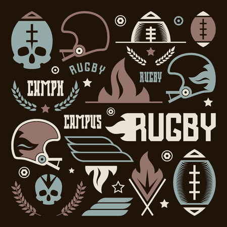 rugby team: College rugby team badges in retro style. Graphic design for t-shirt. Color print on a black background Illustration