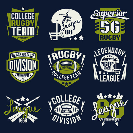 rugby team: College rugby team emblem graphic design for t-shirt