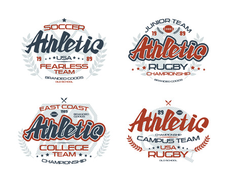 College rugby and soccer team emblems  for t-shirt. Color print on white background