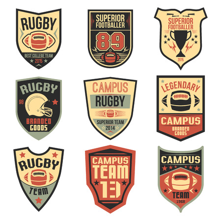 rugby team: Campus rugby team emblems in flat style. Graphic design for t-shirt