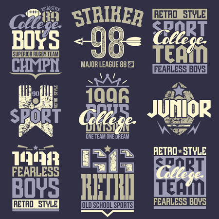 rugby team: College rugby team emblems  in retro style. Trendy graphic design for t-shirt. Color print on a dark background