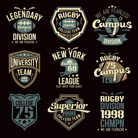 rebellious: College rugby team emblems graphic design for t-shirt Illustration
