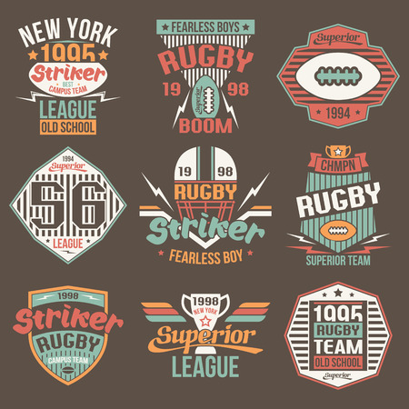 rebellious: College team American football retro vintage emblems graphic design for t-shirt. Color print on a brown background