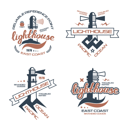 Lighthouse emblem  for t-shirt. Color print on white background