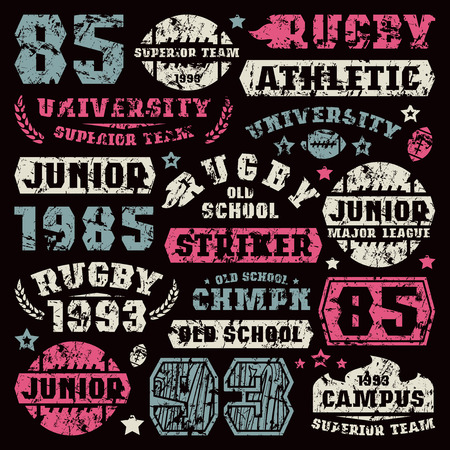 rugby team: Rugby team typographic elements with shabby texture. Graphic design for t-shirt. Color print on black  background