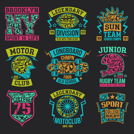 rebellious: Rugby, motoclub, longboard college sport emblem graphic design for t-shirt. Bright print on a dark background