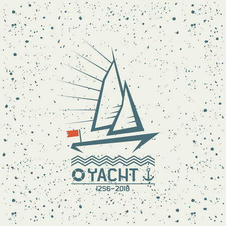 emphasis: Yacht emblem in geometric lines style on a textured background