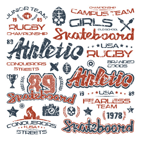 boyish: Athletic elements with shabby texture. Graphic design for t-shirt. Color print on white background Illustration