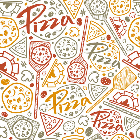 Pizzeria seamless pattern. Color print on white background
