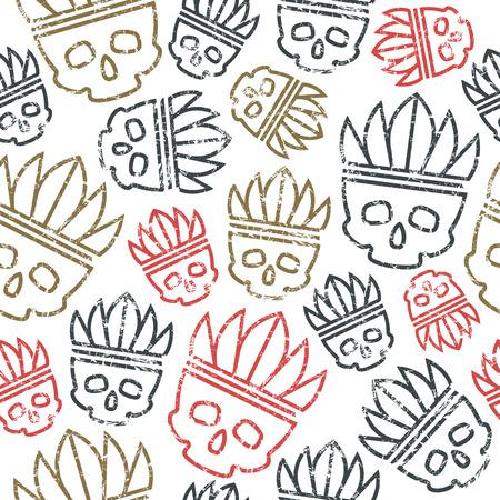redskin: Seamless pattern skull in headdress  redskin. Color print on white background
