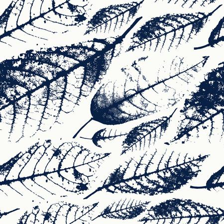Foliage herbarium seamless pattern. Dark print on a white background