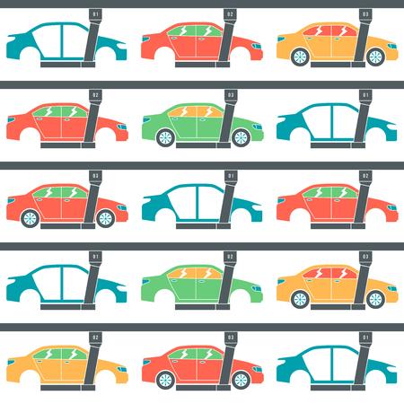 Linia do produkcji samochodów. Szwu. Druk kolorowy na białym tle