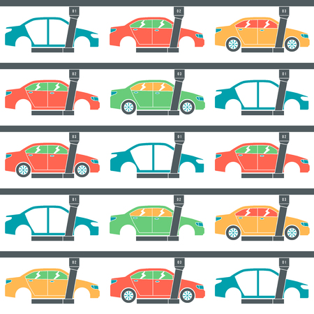 bodywork: Production line of cars. Seamless pattern. Color print on white background