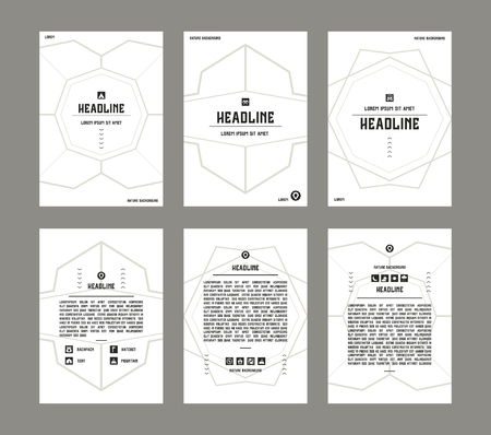 placards: Set of vector poster templates with pattern in thin line style. Background for flyers, posters and placards.
