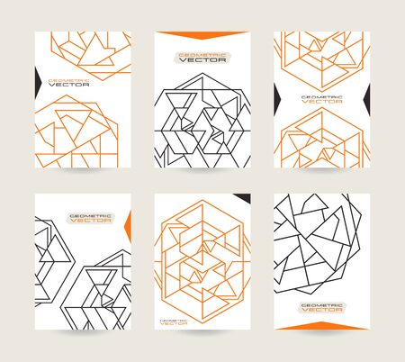 placards: Set of vector poster templates with geometric drawing in thin line style. Templates for flyers, posters and placards Illustration