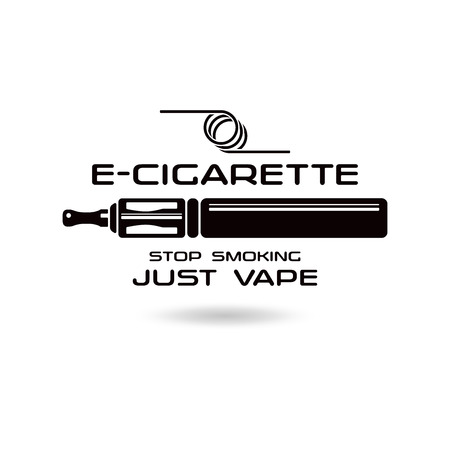 E-cigarette emblem. Black print on white background