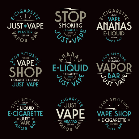 vapor: Vapor bar and vape shop typographic labels. Color print on black background Illustration