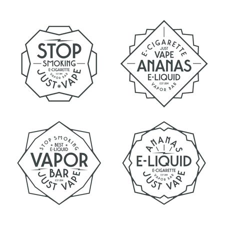 eliquid: Vapor bar and vape shop labels. Black print on white background Illustration