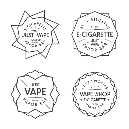 vapor: Vapor bar and vape shop labels. Black print on white background Illustration