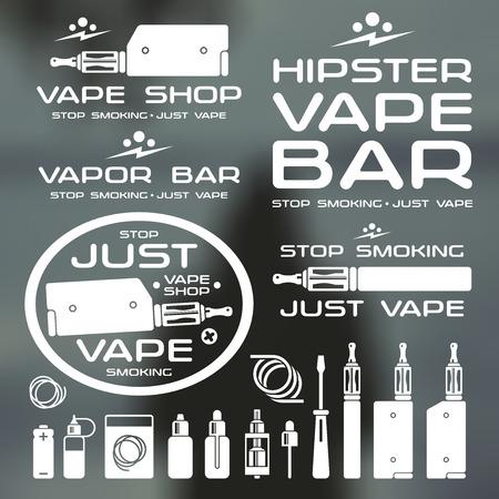 eliquid: Vapor bar and vape shop and e-cigarette icons. White print on blurred background Illustration