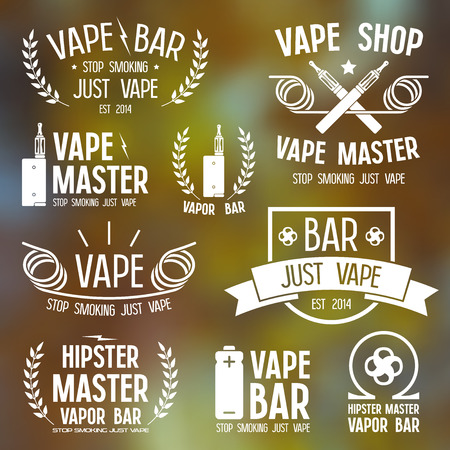 vapor: Vapor bar and vape shop and e-cigarette icons. White print on blurred  background