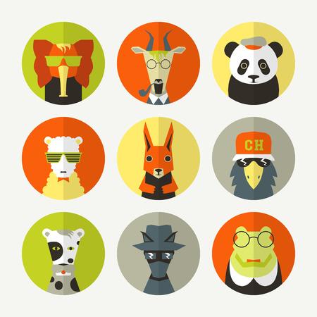 forelock: Stylized animal avatar set in flat style. Dog, panda, squirrel, bird, sheep, elephant, goat, crocodile. Bright colors Illustration