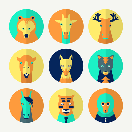 Stylized animal avatar set in flat style for social networks. Bright colors