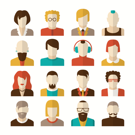 iroquois: Stylized character people avatars in flat style for social networks