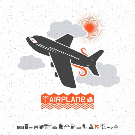 bedstead: Illustration of airplane in the clouds and travel icons in flat style