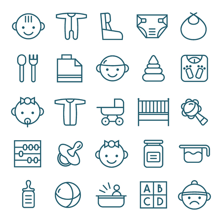 teat: Baby icons set in thin line style. Dark blue lines on white background Illustration