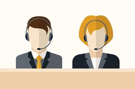 Customer service operator with headset. Men and women