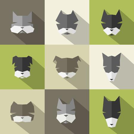 ear protection: Icons set: stylized dogs. Flat style Illustration